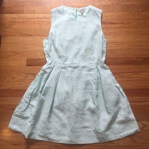 Sea Foam Green Linen Dress w/ Pockets & Zip Back